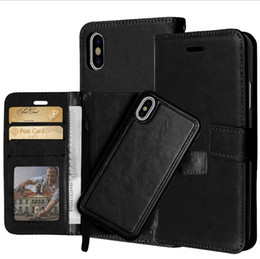 Iphone Removable Case NZ - For iPhone XS MAX XR X 7 8 6 2 in 1 Magnetic Magnet Detachable Removable Wallet Leather Case Phone Cover Samsung S9
