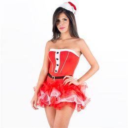 f847dba265e7 Sexy Off Shoulder Christmas Tutu Dress Red RARA Skirt Xmas Cosplay Costume  for Women Miss Santa Uniform with Hat