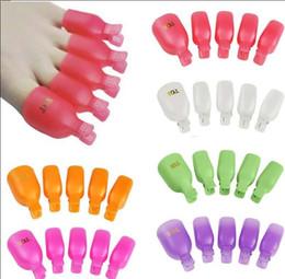 5 Pcs de Plástico Pé Toe Nail Art Soak Off Cap Clipe UV Gel Polonês Removedor Envoltório Definir Pedicure Mergulho Off Toe clipe Prego KKA5000 venda por atacado