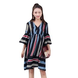 3c8be2b77 Pregnant Summer Striped Sundress Women Flared-Sleeve V Neck Mini Dress  Maternity Loose Soft Casual Beach Dress AA60276
