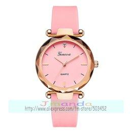 Wrist Watches Logos Australia - 100pcs lot geneva 639 fashion candy colors jelly watch for women student hot selling geneva logo silicone wrist watch for kids