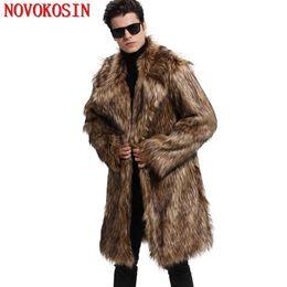 Suit Trench Canada - M-3XL 2018 Thick Long Fur Trench Winter Warm Plus Size Open Stitch Loose Plush Coat New Fashion Men Faux Fur Suit Neck Cardigan