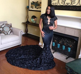 Girls pick up paGeant dresses online shopping - 2K18 Prom dresses African Black Girls Pageant High Neck Lace D Rose Flowers Long Formal Dresses Evening Prom Wear