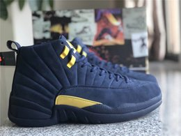 Mesh Fiber Australia - 2018 New 12 RTR Michigan NRG PSNY 12S Men Basketball Shoes Collego Navy Amarillo BQ3180-407 Real Carbon Fiber Athletic Sports Sneakers