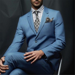 grey suit men fashion Canada - Fashion Itlian Style Mens Work Wear Men Suits Elegant Men Suit Stylish Bridegroom Wedding Suits 2 Pieces(Jacket+Pants+Tie)