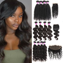 cheap closures Canada - Cheap 8A Brazilian Virgin Hair Straight 4 Bundles With Frontal Body Wave Bundles With Closures Remy Deep Wave Human Hair Weaves Extensions