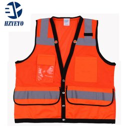 Discount reflective safety vests motorcycle - HZYEYO High Visibility Reflective Motorcycle Vest Multi Pockets Workwear Safety Waistcoat Breathable In Summer ,D-9919