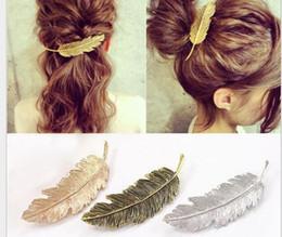 Hair Feathers Tools Australia - Fashion Metal Leaf Shape Hair Clip Barrettes Crystal Pearl Hairpin Barrette Color Feather Hair Claws Hair Styling Tool