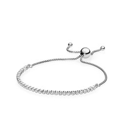 Plate clear online shopping - Women Sterling Silver Bracelets Clear CZ Diamond Adjustable Size Shining Crystal Bracelet Fit Pandora Jewelry Womens Valentine s Day gift