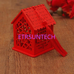 red chinese style box 2019 - Exquisite House Shape Wedding Candy Box Chinese Style Red Wooden Chocolate Candy Boxes Party Decoration QW8006 discount