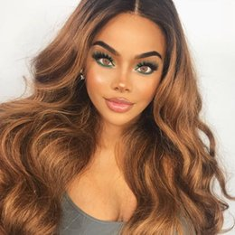 two toned indian glueless wig NZ - Full Lace Human Hair wigs Ombre Two Tone 1B 30 Brazilian Virgin Hair 150 Density Natural Hairline Glueless Bleached Knots