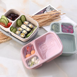Green Box Containers Australia - Japanese Lunch Boxs Box 3 Grid With Lid Microwave Food Box Fruit Storage Container Boxes Dinnerware Set For Kids Picnic Food