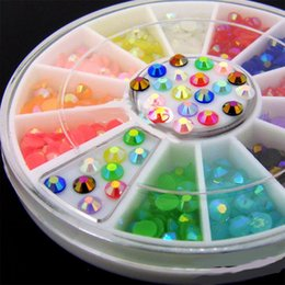 color stone charms NZ - Mixed Color 3D Nail Art Rhinestone DIY Decorations Gems in Wheel Half Flat Bottom Stones For Nail Manicure Beauty Charms Tips