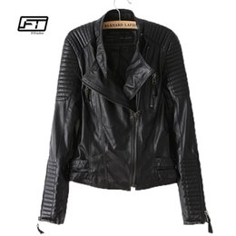 Chinese  new autumn winter women PU leather jacket fashion Motorcycle coat female rivet long sleeve short design stand collar basic coat manufacturers