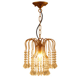 mounted art UK - American classical iron crystal chandelier lights K9 crystal pendant lighting fixtures golden chandeliers home decor E14 holder