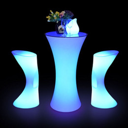 Wholesale Factory LED Plastic Bar Chair Stool Lighting table Chair Multi Color Changing Luminous Table Chair