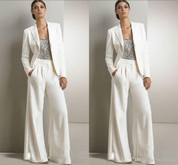 Navy blue dress suit online shopping - 2018 New Bling Sequins Ivory White Pants Suits Mother Of The Bride Dresses Formal Chiffon Tuxedos Women Party Wear New Fashion Modest