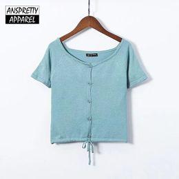 a0e3fc96d0 Anspretty Apparel drawstring buttons knitted t shirt women raglan short  sleeve sexy crop top summer vintage stretch ladies tops