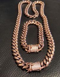 $enCountryForm.capitalKeyWord Canada - Mens Cuban Link Bracelet & Chain Set 14k Rose Gold Plated 12mm *Lad Diamond Clasp*