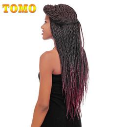 "burgundy purple hair extensions 2019 - TOMO Hair Products 14""16'18""20""22"" Small Crochet Braids Senegalese Twist Crochet Braiding Hair"