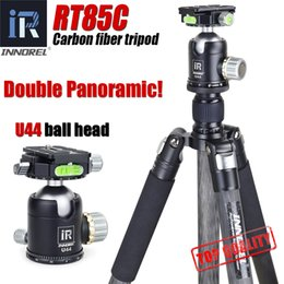 Discount panoramic tripod heads - wholesale RT85C Professional carbon fiber video fluid head tripod 25kg load 1.87m stretch bowl tripod double panoramic b