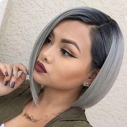 Ombre Hair Grey Black Short Online Grosshandel Vertriebspartner