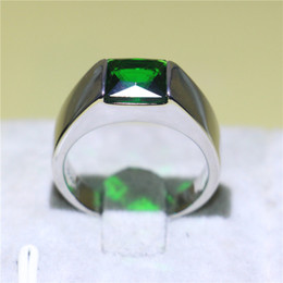 unique asian jewelry men 2020 - Exquisite Men Wedding Jewelry White Gold Filled Band Ring 1.5ct Square Emerald Zirconia Rings for Male Unique Gift Size