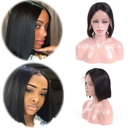 free human hair wigs 2018 - Lace Front Wigs Virgin Human Hair 130% Density Malaysian Pre Plucked Natural Hairline Long Straight Lace Wigs for Black