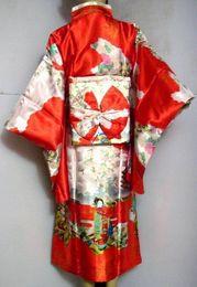 Discount hot dress japanese - Hot Sale Red Vintage Japanese Women's Silk Satin Kimono Yukata Evening Dress Flower One Size Free Shipping H0003