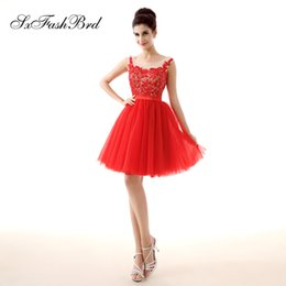 Short Red Lace Prom Vintage Dress Australia - Fashion Elegant O Neck Lace Top Open Back Mini Short A Line Red Tulle Party Formal Evening Dresses Women Prom Dress