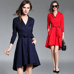 Office wear suits fOr wOmen online shopping - New Arrival Suit Collar Belt Slim Dress Nine Points Sleeve for Women Autumn Winter Dress Fashion Casual Business Office Ladies Dresses