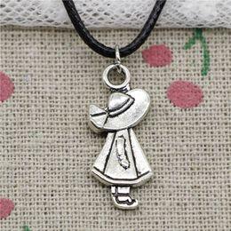 Hat Pendant NZ - New Fashion Tibetan Silver Pendant girl hat 12*24mm Necklace Choker Charm Black Leather Cord Handmade Jewelry
