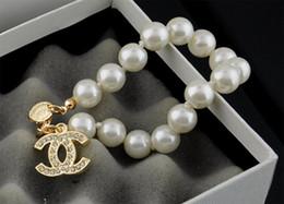 EnamEl zodiac charms online shopping - High Celebrity Design Letter Metal Buckle Diamond Pearl Bracelet Fashion Metal Flowers Cuff Bracelet Jewelry With Box