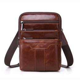 coral handbag Canada - Famous brand gold coral genuine leather messenger bags for men shoulder bags male chest pack man handbag cowhide crossbody bags