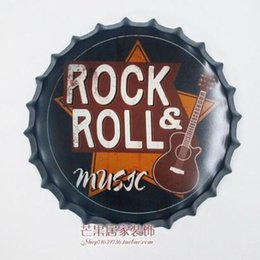 Discount rolling rock beer signs - ROCK&ROLL Large Beer Cover Tin Sign Logo Plaque Vintage Metal Painting Wall Sticker Iron Sign Bar KTV Store Decorative 3