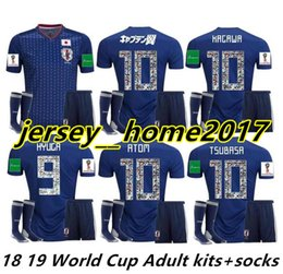 Chinese  2018 World Cup Japan Soccer Jerseys cartoon number fonts adult kit with socks maillot foot 18 19 OKAZAKI KAGAWA National Full Football Shirt manufacturers