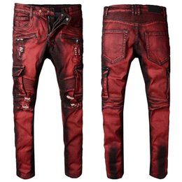 f2d5665ebe4 Red Cargo Denim Jeans Man Skinny Leg Plus Size 40 Ripped Fading Destroyed  Hole Denim Trousers Boys