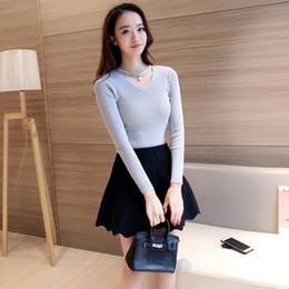 97453ea004 Discount sexy sweater korean - Autumn Winter Korean Style Slim Sweaters Sexy  V Neck Bodycon Long
