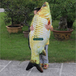 soft fish baby toys 2020 - Dorimytrader real picture 3D lifelike animal carp plush pillow soft animal fish toy baby doll gift for kids creative dec