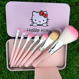 kit brushes pink NZ - Kitty Sweet pink black 7 Pcs Mini Makeup brush Set cosmetics kit de pinceis de maquiagem make up brush Kit with Metal box