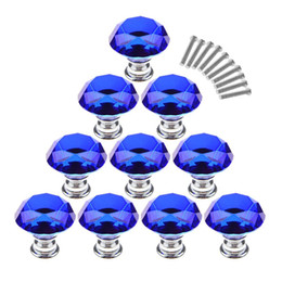 $enCountryForm.capitalKeyWord Australia - 10Pcs Set 30mm Crystal Glass Diamond Shape Cabinet Knobs Cupboard Drawer Pull Handles - Dark Blue