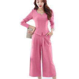 Fashion 2 Pieces Set Trouser Suit Women Long Sleeve Autumn Spring OL  Elegant Office Pant Suits Plus Size Uniform Work Style 1f680318e