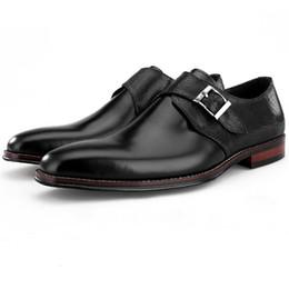 52ccae74e0 Caliente venta marrón   negro zapatos de monje formal para hombre de baile vestido  zapatos de cuero genuino de negocios masculino boda novio