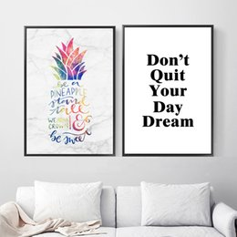 $enCountryForm.capitalKeyWord NZ - Watercolor Pineapple Dream Quotes Nordic Posters And Prints Wall Art Canvas Painting Wall Pictures For Living Room Home Decor