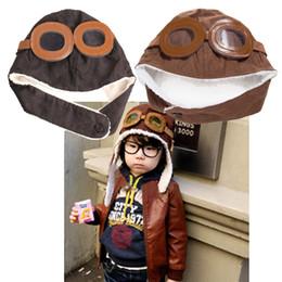 Cute Boys Girls Hats Children Pilot Hat Baby Aviator Hats Ear Flaps Ceanie Kids  Cap Infant Winter Warm Caps 2Colors 7a4b59f14587