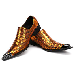 skin leather pointed men shoe Canada - Men's Genuine Leather Snake Skin New Men's Gold Dress Shoes Pointed Toe Fashion Luxury Wedding Shoes Oxford Shoes