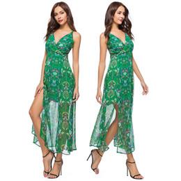 Best women dress night online shopping - Prom Dress Club Dresses Women S Best Dresses Party Evening V neck Sleeveless Printed Chiffon Long Dress with Long Thin Slit Skirt