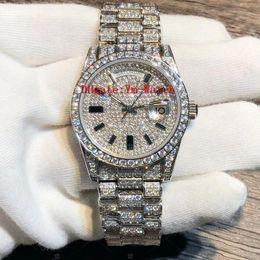 Rhinestone watch date online shopping - Luxury Full Diamond Austrian Diamond Watch High Quality Automatic Day Date Waterproof MM Mechanical Watches Stainless Steel