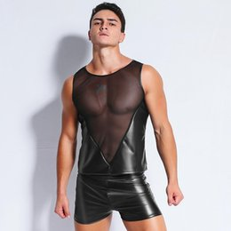 latex fetish costumes 2019 - Sexy Men's Fun Patent Leather Black Mesh T-Shirt Tops Tees Wet Look Fetish Latex DS Lingerie Catsuit Exotic Club we