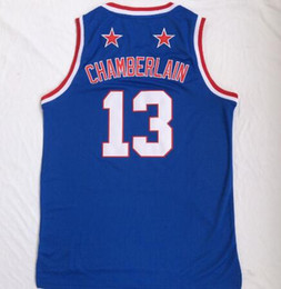 2018 NEW MEN Harlem basketball team Wilt Chamberlain 13 blue Basketball  jerseys shirts TOPS 701467711